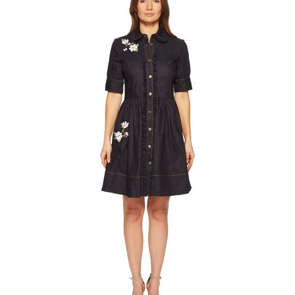 23e765af69 Kate Spade Embroidered Denim Shirtdress